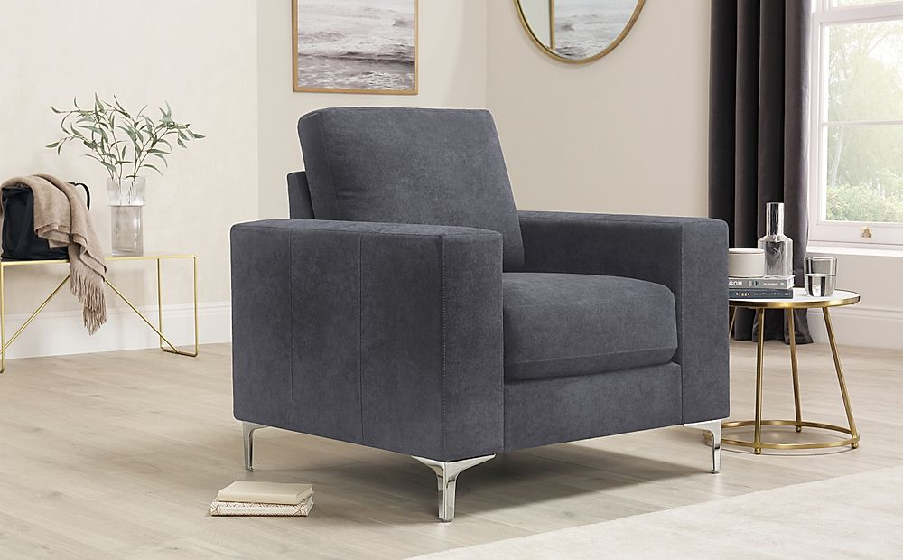 Baltimore Slate Grey Plush Fabric Armchair