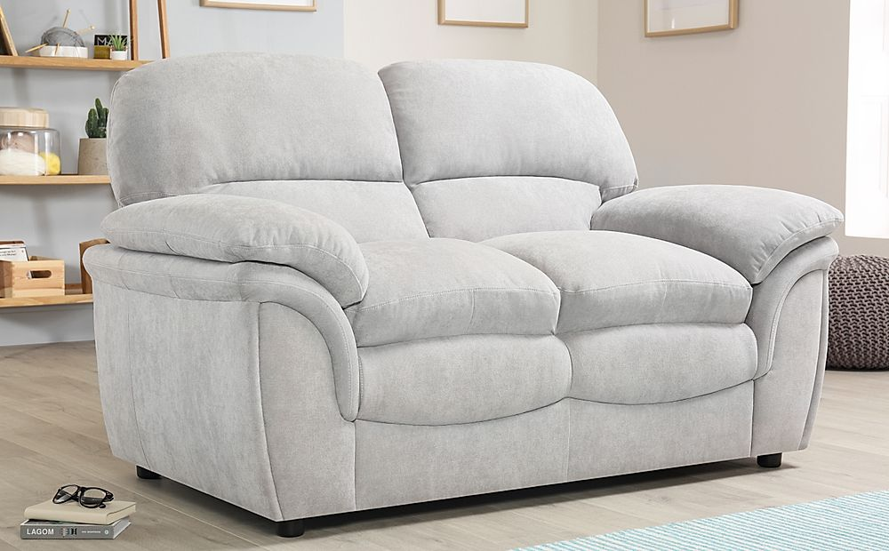 Rochester Dove Grey Plush Fabric Sofa 2 Seater