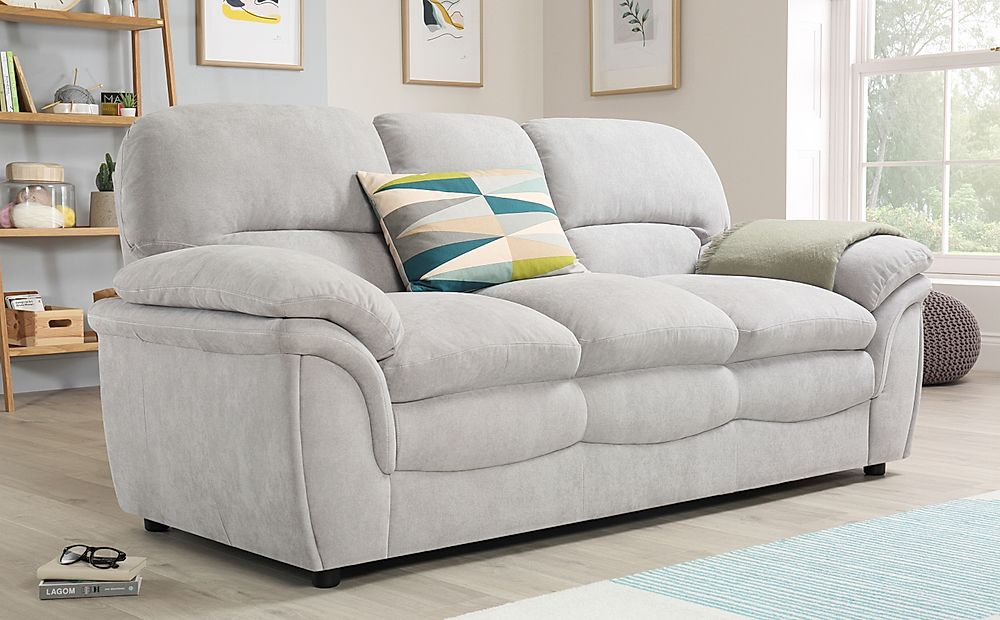 Rochester Dove Grey Plush Fabric 3 Seater Sofa Furniture