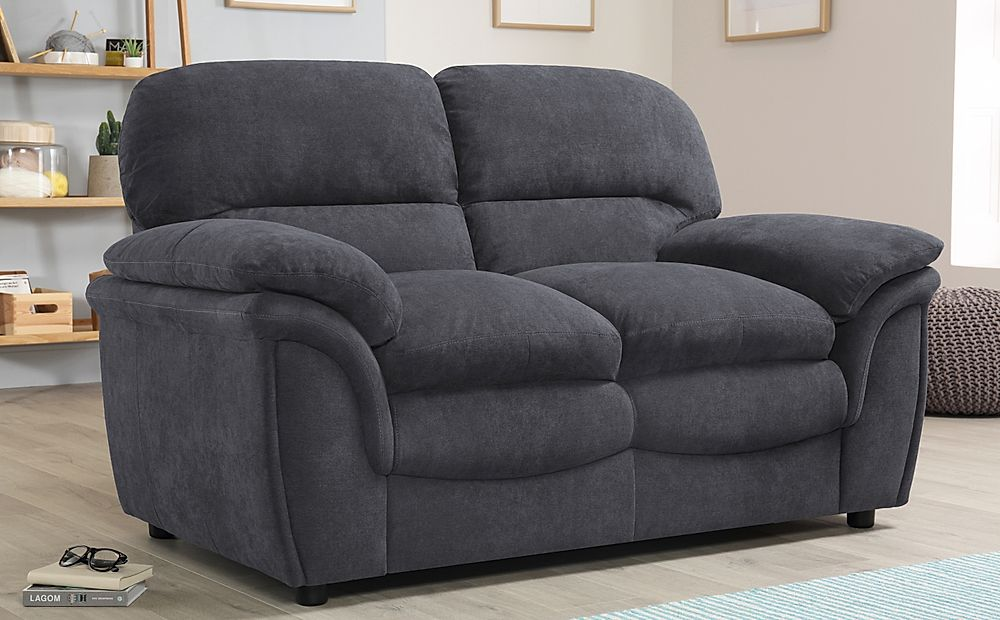 Rochester Slate Grey Plush Fabric 2 Seater Sofa