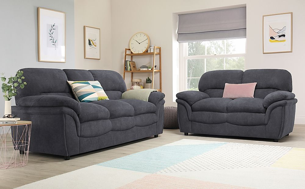 Rochester Slate Grey Plush Fabric 3+2 Seater Sofa Set