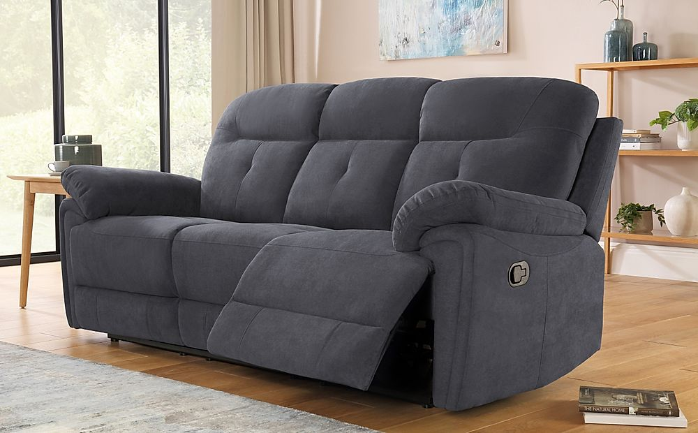 Ellington Slate Grey Plush Fabric 3 Seater Recliner Sofa