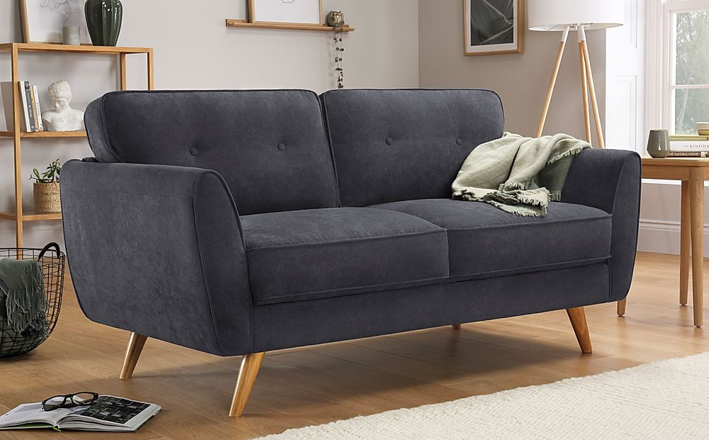 Harlow Slate Grey Plush Fabric 2 Seater Sofa