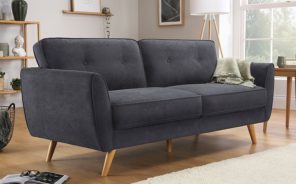 Harlow Slate Grey Plush Fabric Sofa 3 Seater
