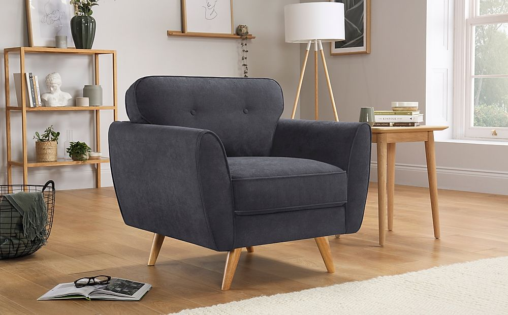 Harlow Slate Grey Plush Fabric Armchair