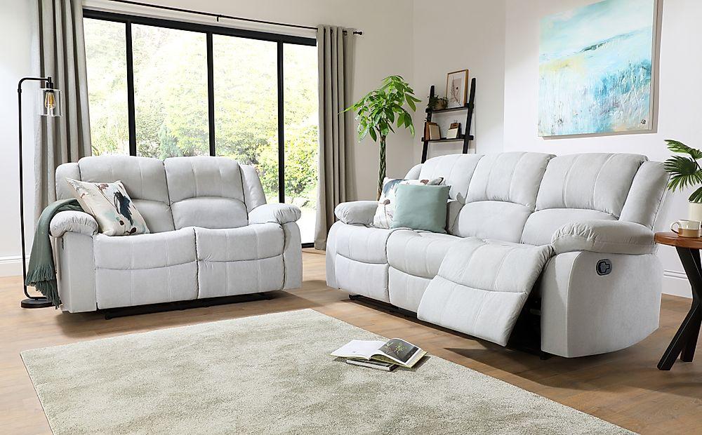 Dakota Dove Grey Plush Fabric 3+2 Seater Recliner Sofa Set