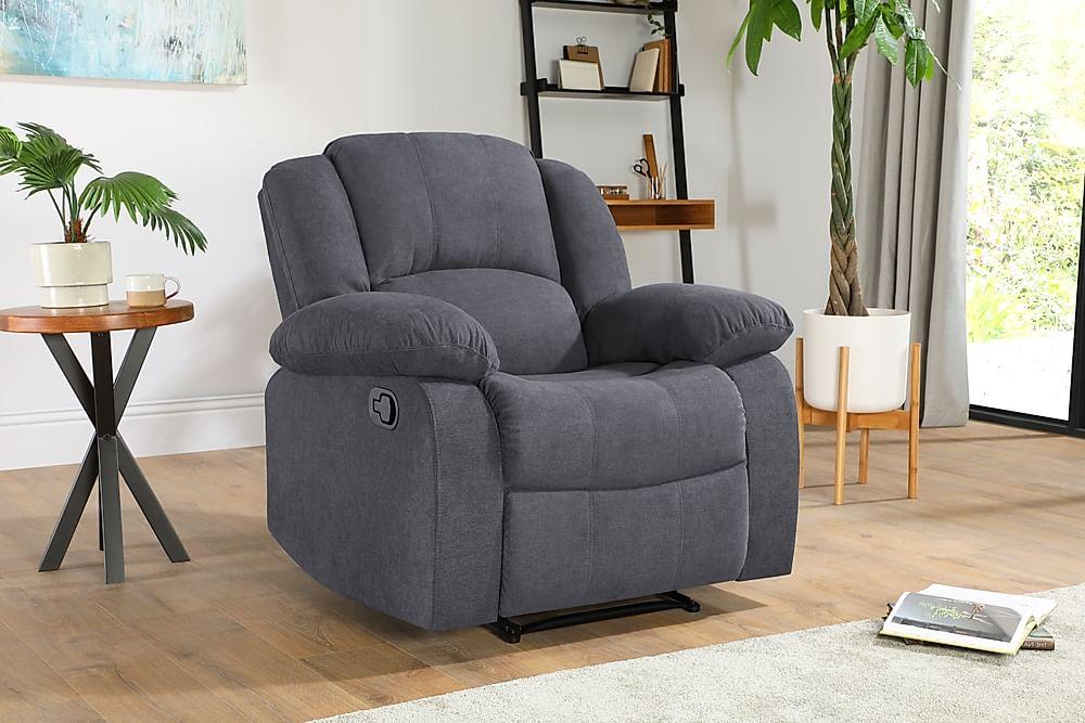 Dakota Slate Grey Plush Fabric Recliner Armchair