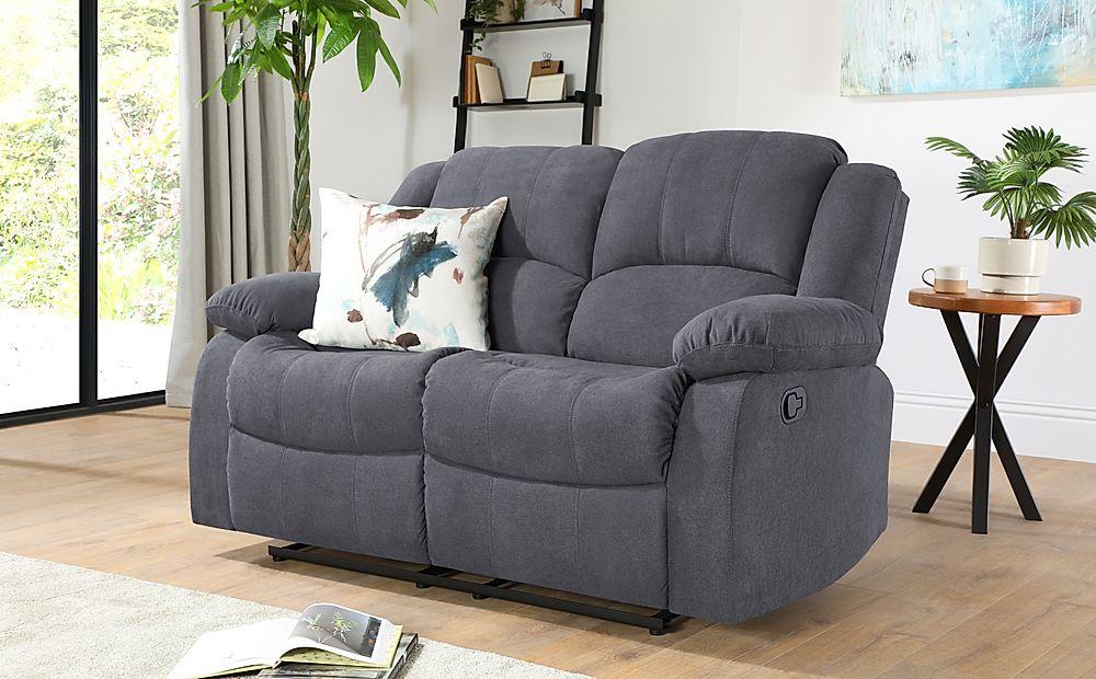 Dakota Slate Grey Plush Fabric 2 Seater Recliner Sofa