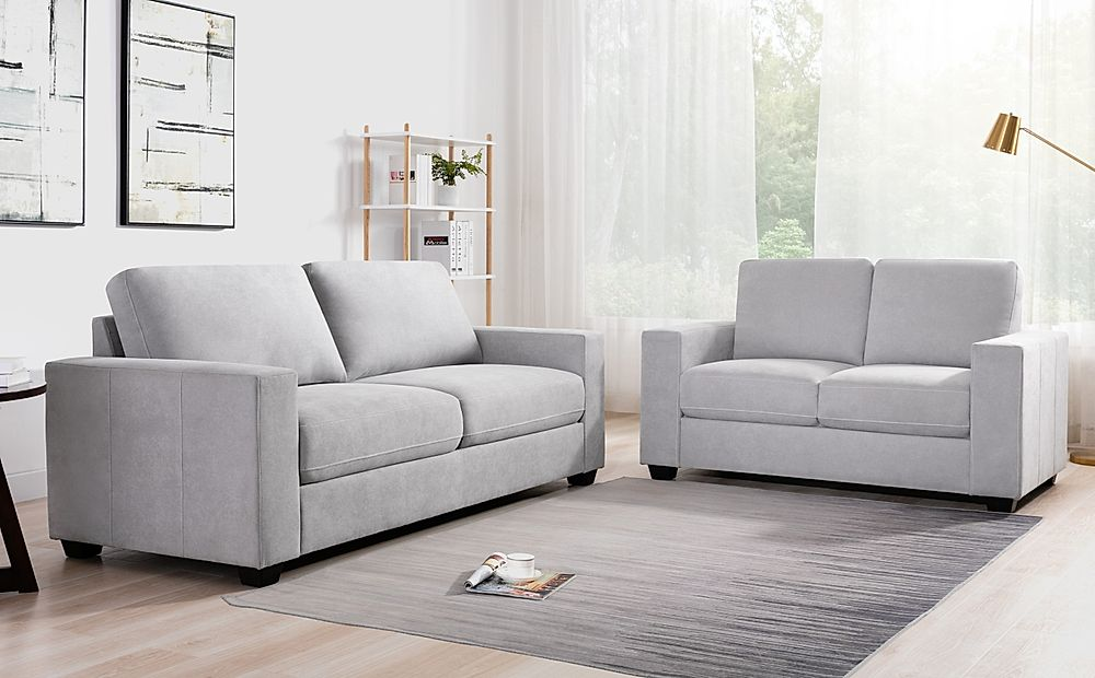 Mission Dove Grey Plush Fabric 3+2 Seater Sofa Set