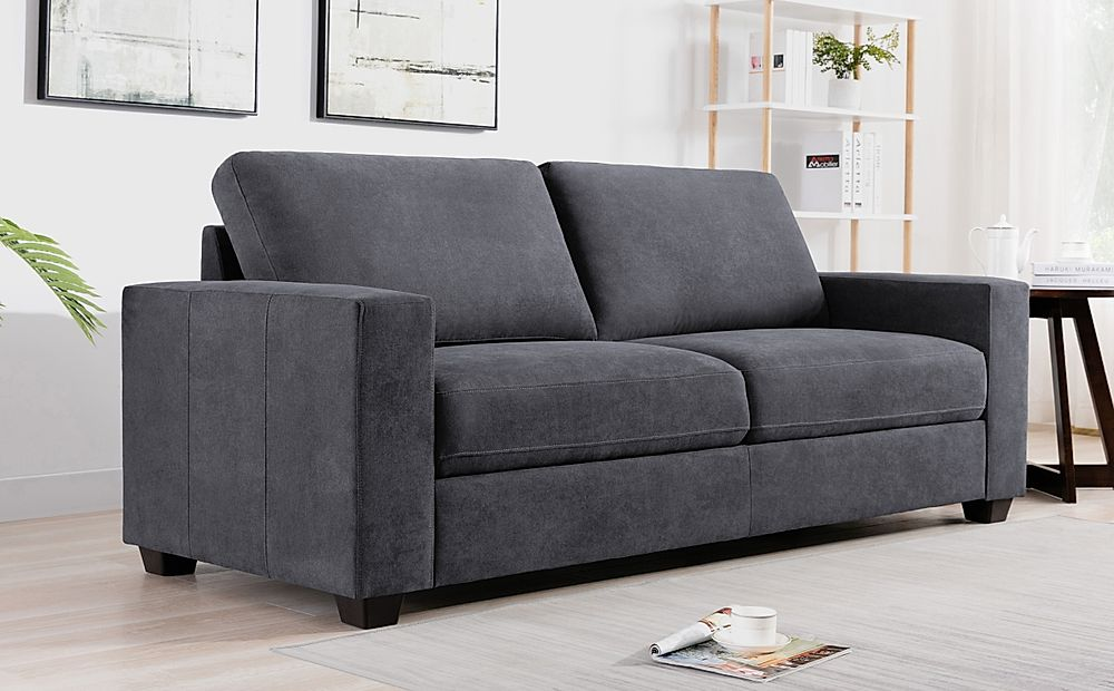 Mission Slate Grey Plush Fabric 3 Seater Sofa