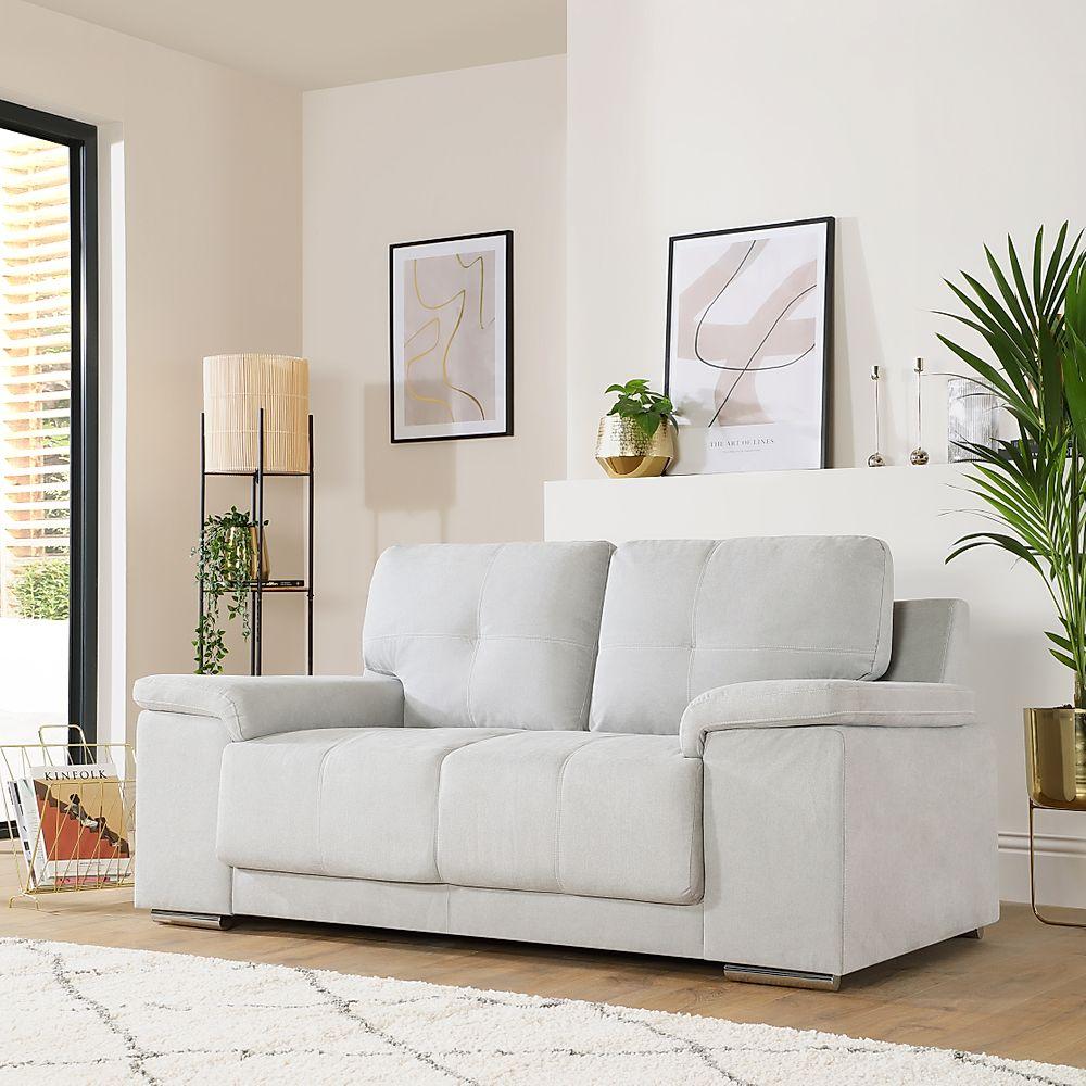 Kansas Dove Grey Plush Fabric Sofa 2 Seater