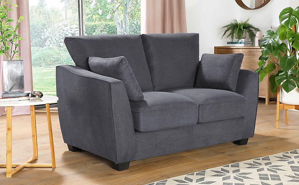 Claremont Slate Grey Plush Fabric 2 Seater Sofa
