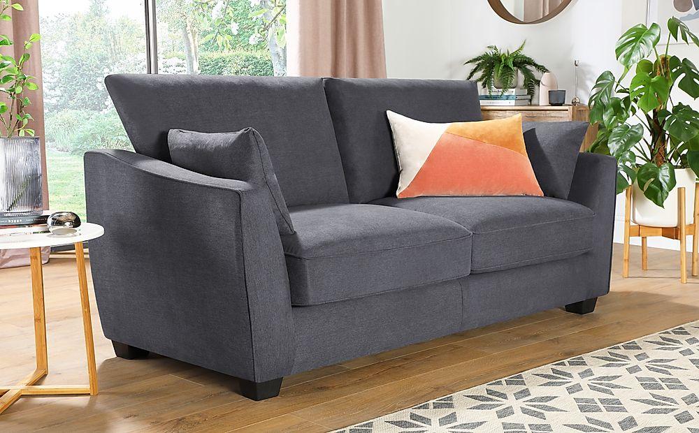 Claremont Slate Grey Plush Fabric 3 Seater Sofa