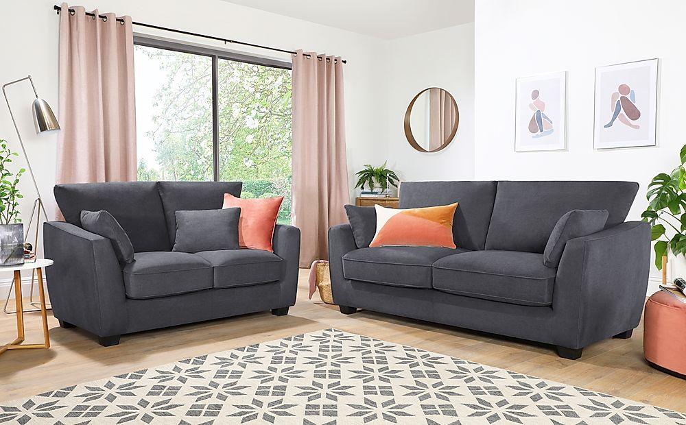 Claremont Slate Grey Plush Fabric 3+2 Seater Sofa Set