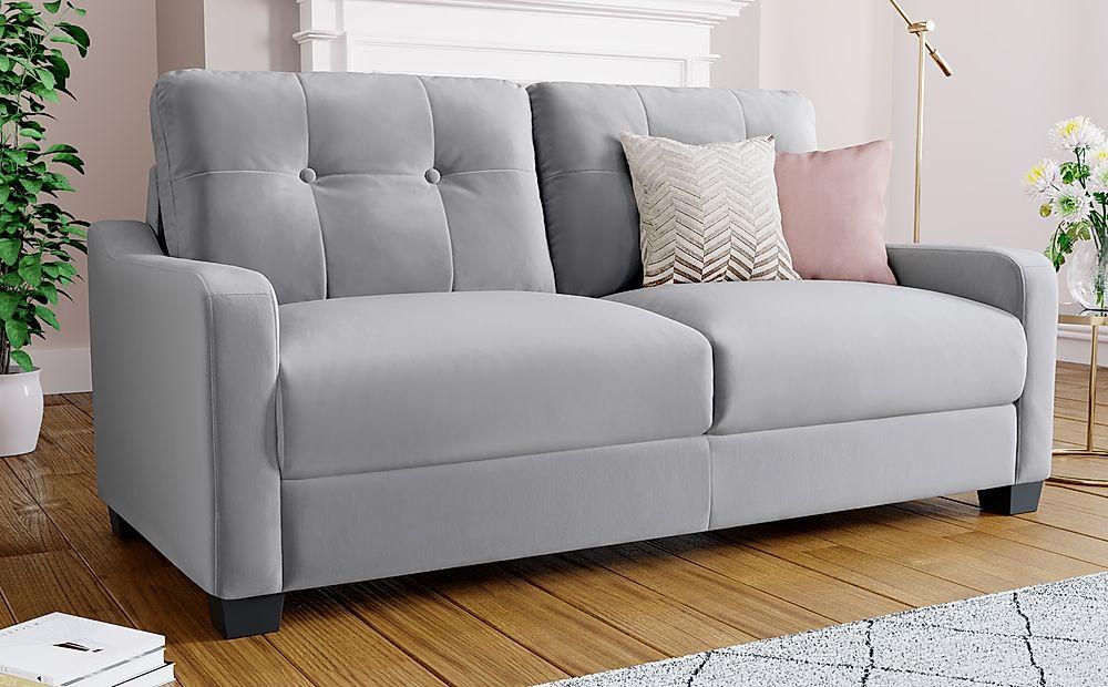 Belmont Grey Velvet 3 Seater Sofa