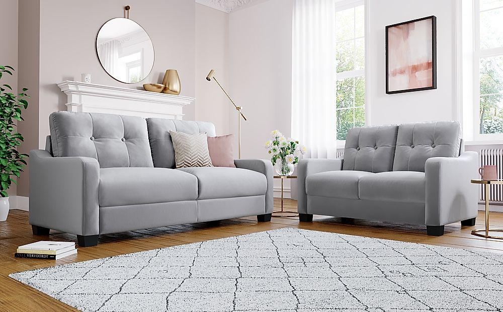 Belmont Grey Velvet 3+2 Seater Sofa Set