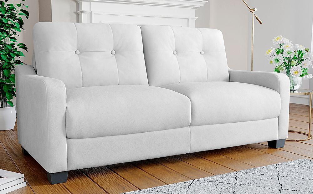 Belmont Dove Grey Plush Fabric Sofa 3 Seater