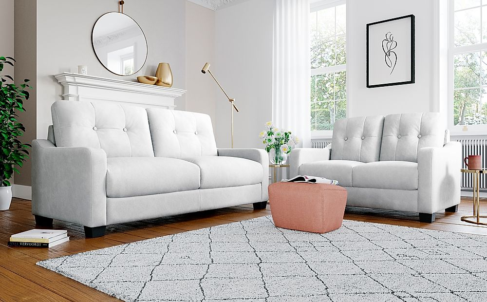Belmont Dove Grey Plush Fabric Sofa 3+2 Seater Sofa Set