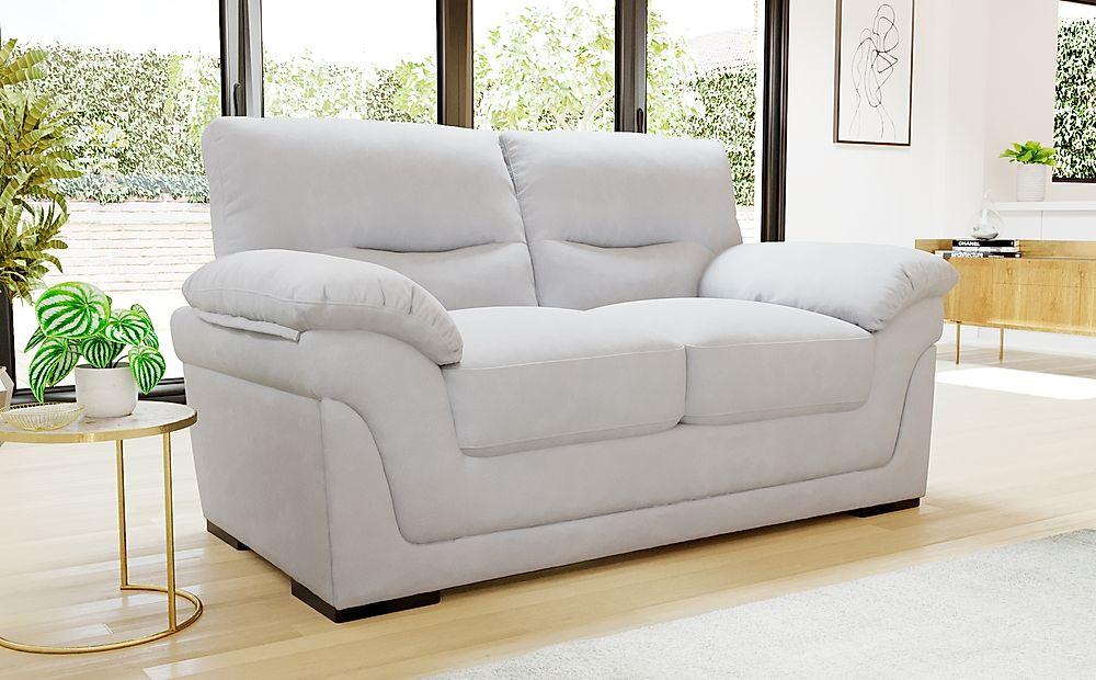 Ascot Dove Grey Plush Fabric 2 Seater Sofa