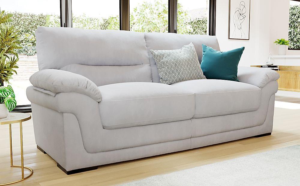 Ascot Dove Grey Plush Fabric 3 Seater Sofa