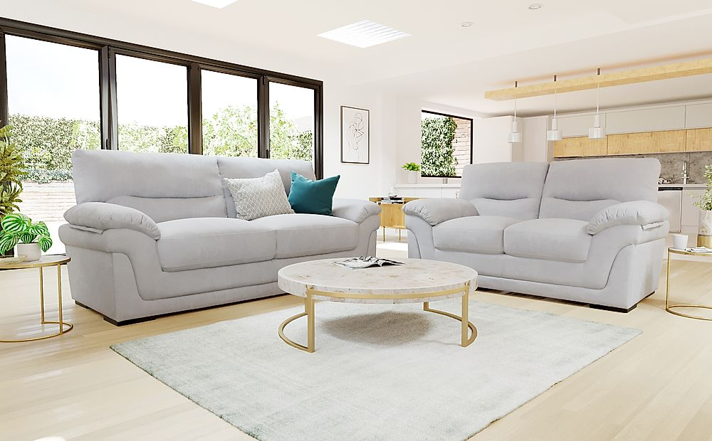 Ascot Dove Grey Plush Fabric 3+2 Seater Sofa Set