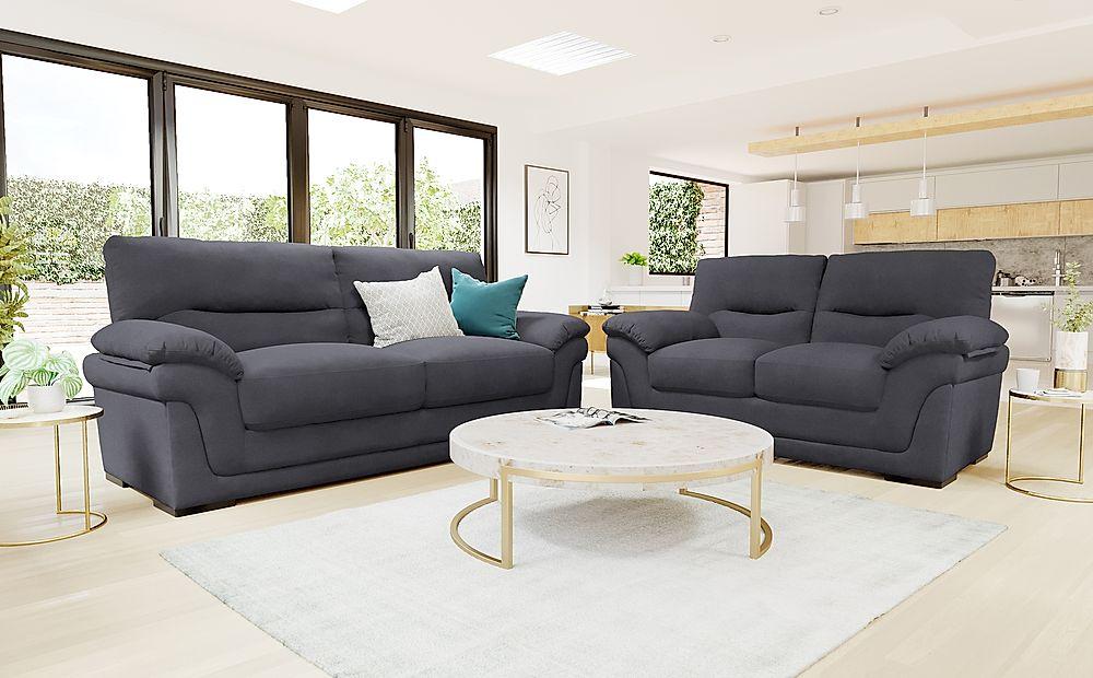 Ascot Slate Grey Plush Fabric 3+2 Seater Sofa Set