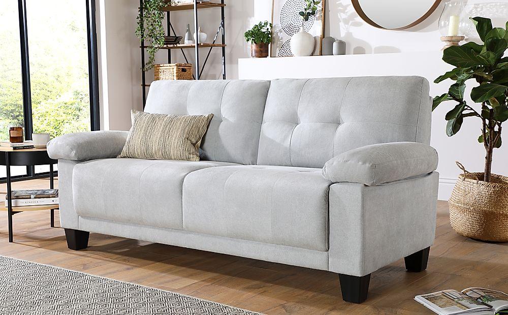 Linton Small Dove Grey Plush Fabric 3 Seater Sofa