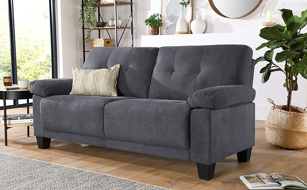 Linton Small Slate Grey Plush Fabric 3 Seater Sofa