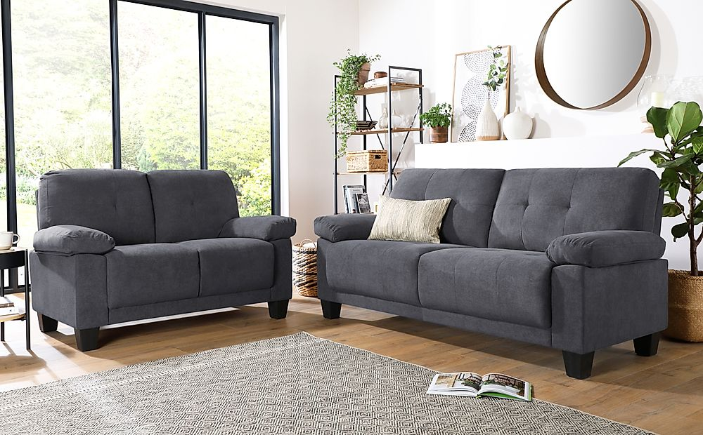 Linton Small Slate Grey Plush Fabric 3+2 Seater Sofa Set
