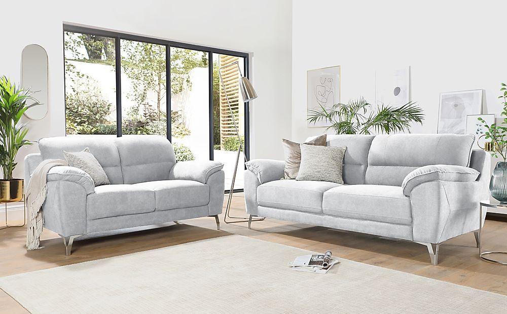 Madrid Dove Grey Plush Fabric 3+2 Seater Sofa Set