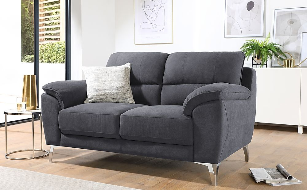 Madrid Slate Grey Plush Fabric 2 Seater Sofa