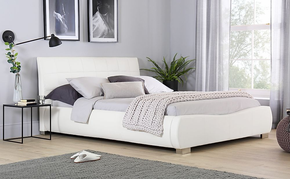 Dorado White Leather Super King Size Bed