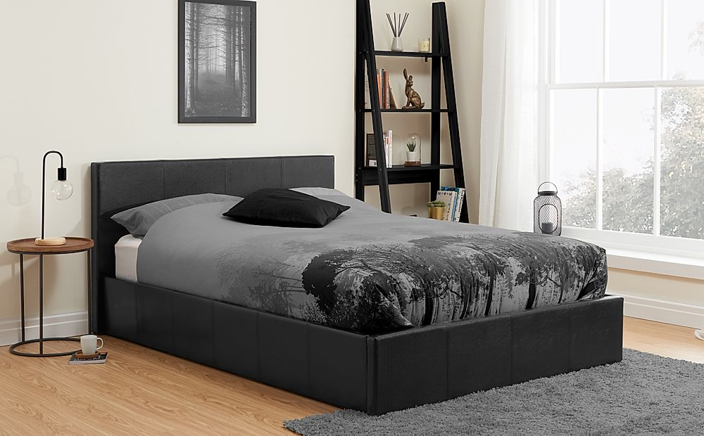 Munich Black Leather Small Double Ottoman Bed