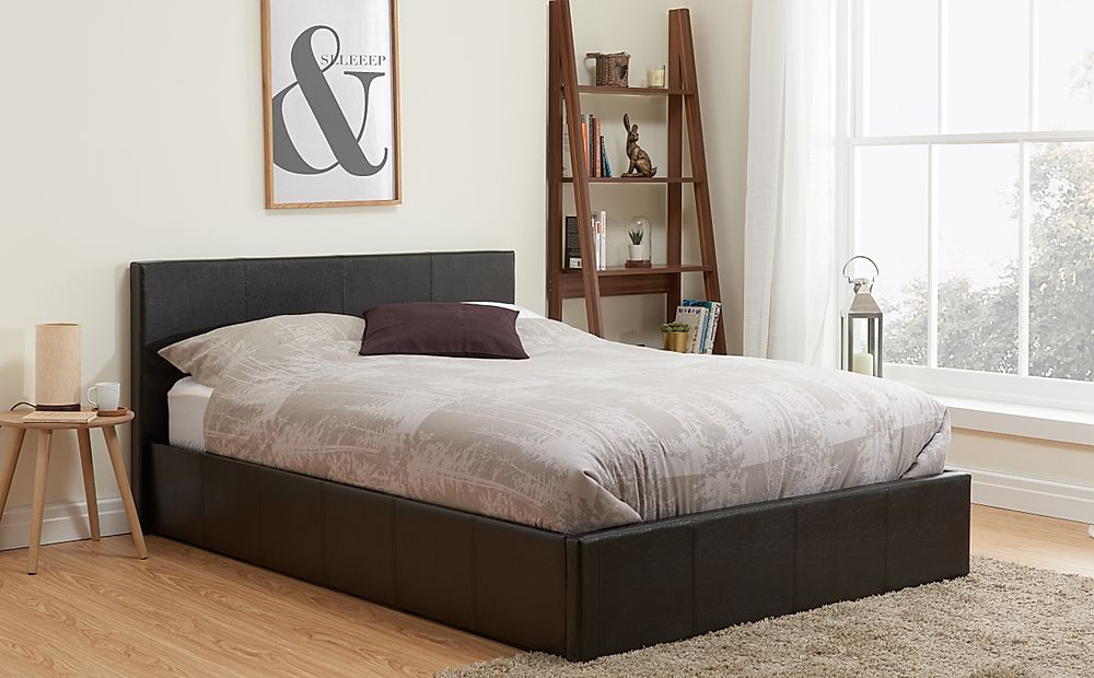 Munich Brown Leather Double Ottoman Bed