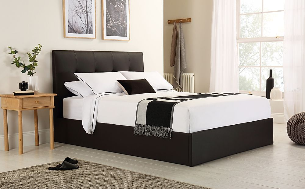 Caversham Brown Leather Ottoman Storage Bed Double