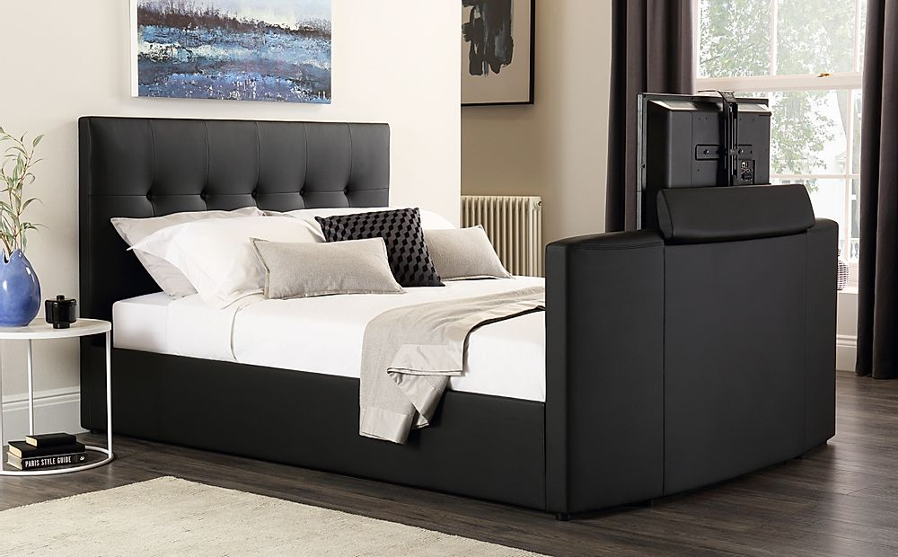 Langham Black Leather TV Bed King Size