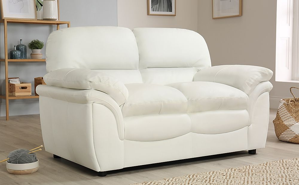 Rochester Ivory Leather 2 Seater Sofa