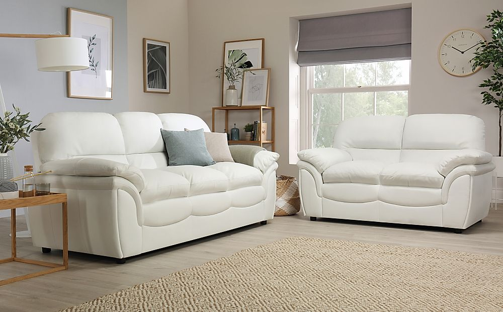 Rochester Ivory Leather Sofa Suite 3+2 Seater