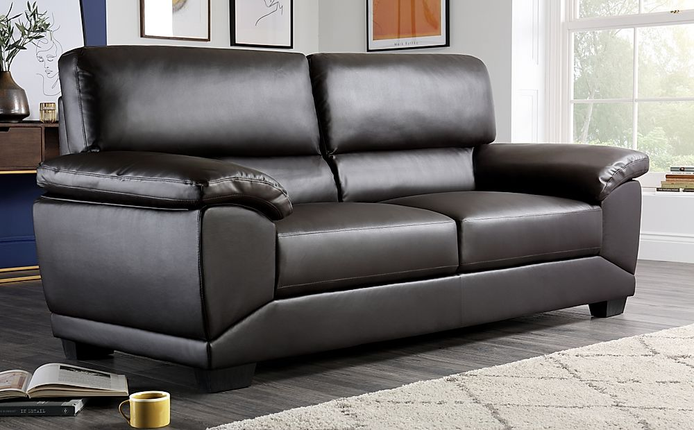 Oregon Brown Leather 3 Seater Sofa
