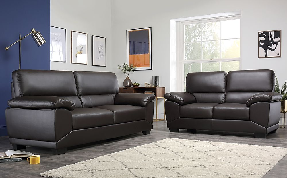 Oregon Brown Leather 3+2 Seater Sofa Set