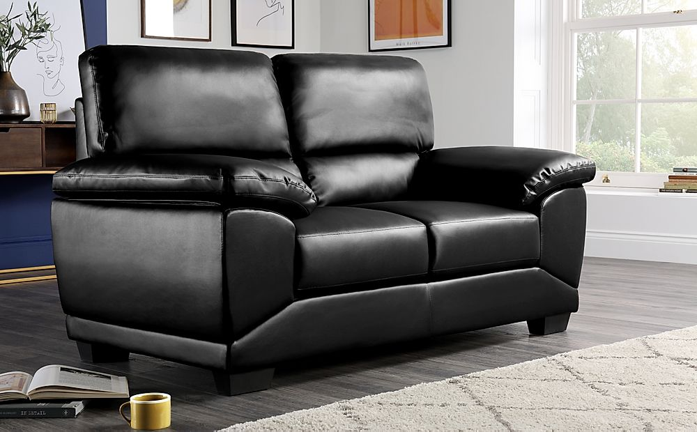 Oregon Black Leather 2 Seater Sofa