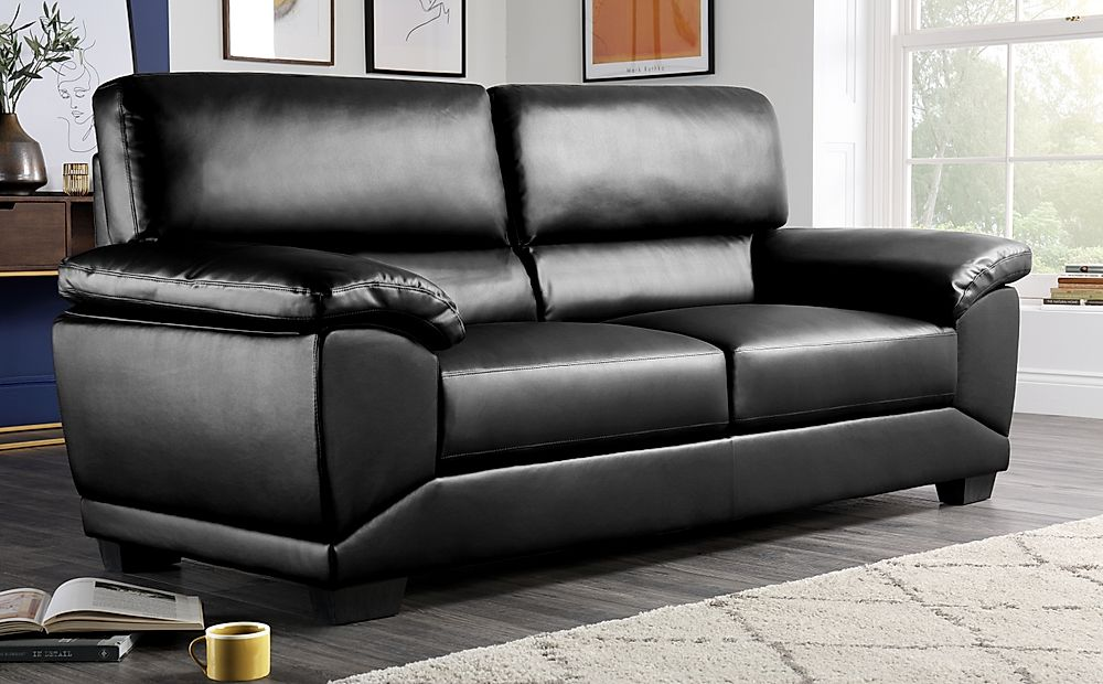 Oregon Black Leather 3 Seater Sofa
