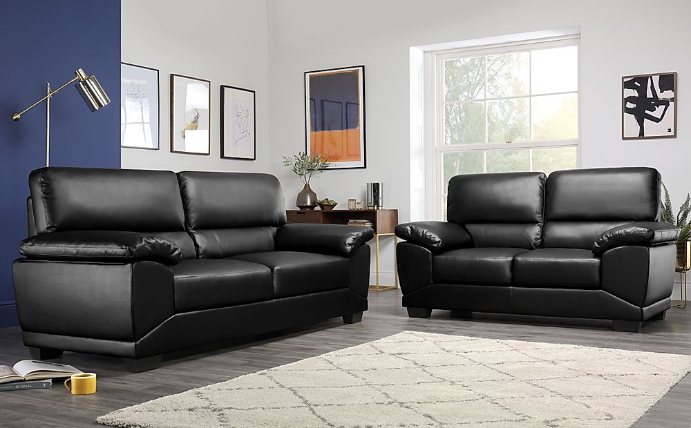 Oregon Black Leather 3+2 Seater Sofa Suite