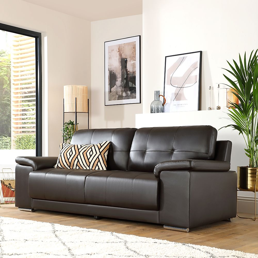 Kansas Brown Leather 3 Seater Sofa