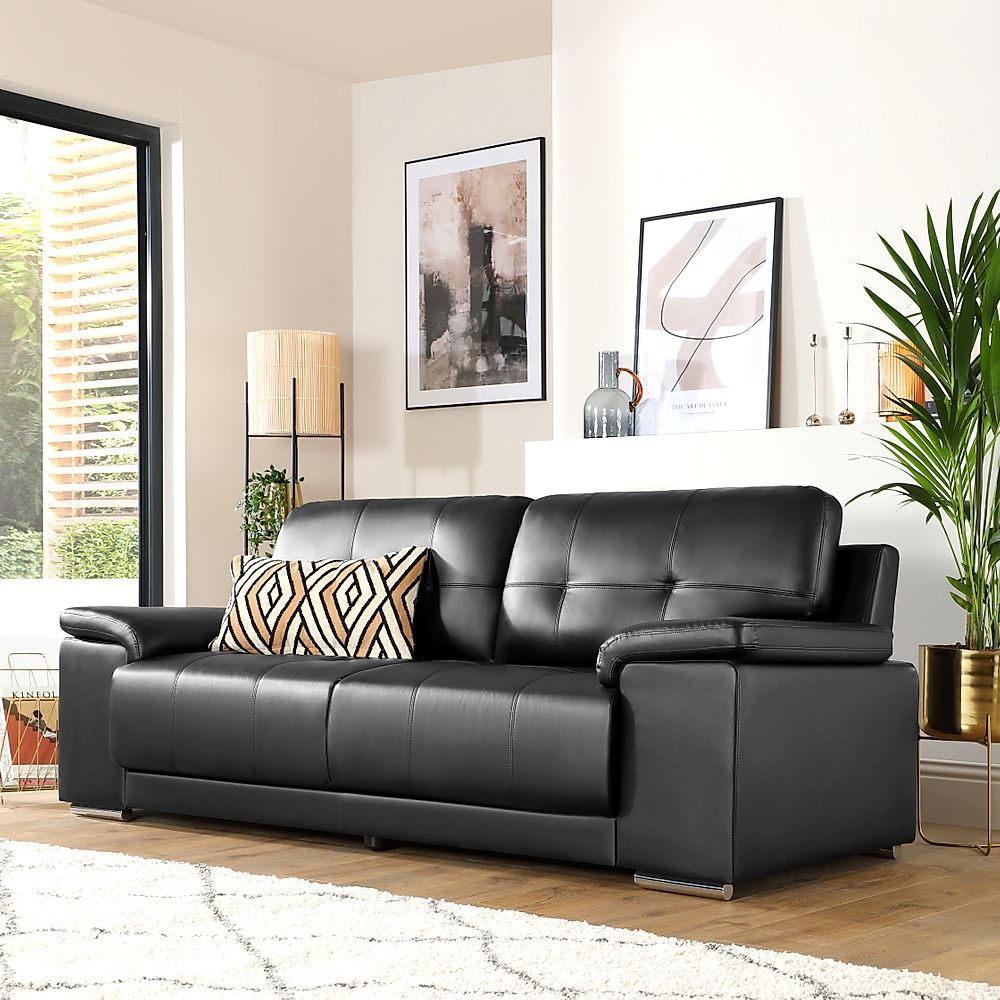 Kansas Black 3 Seater Leather Sofa