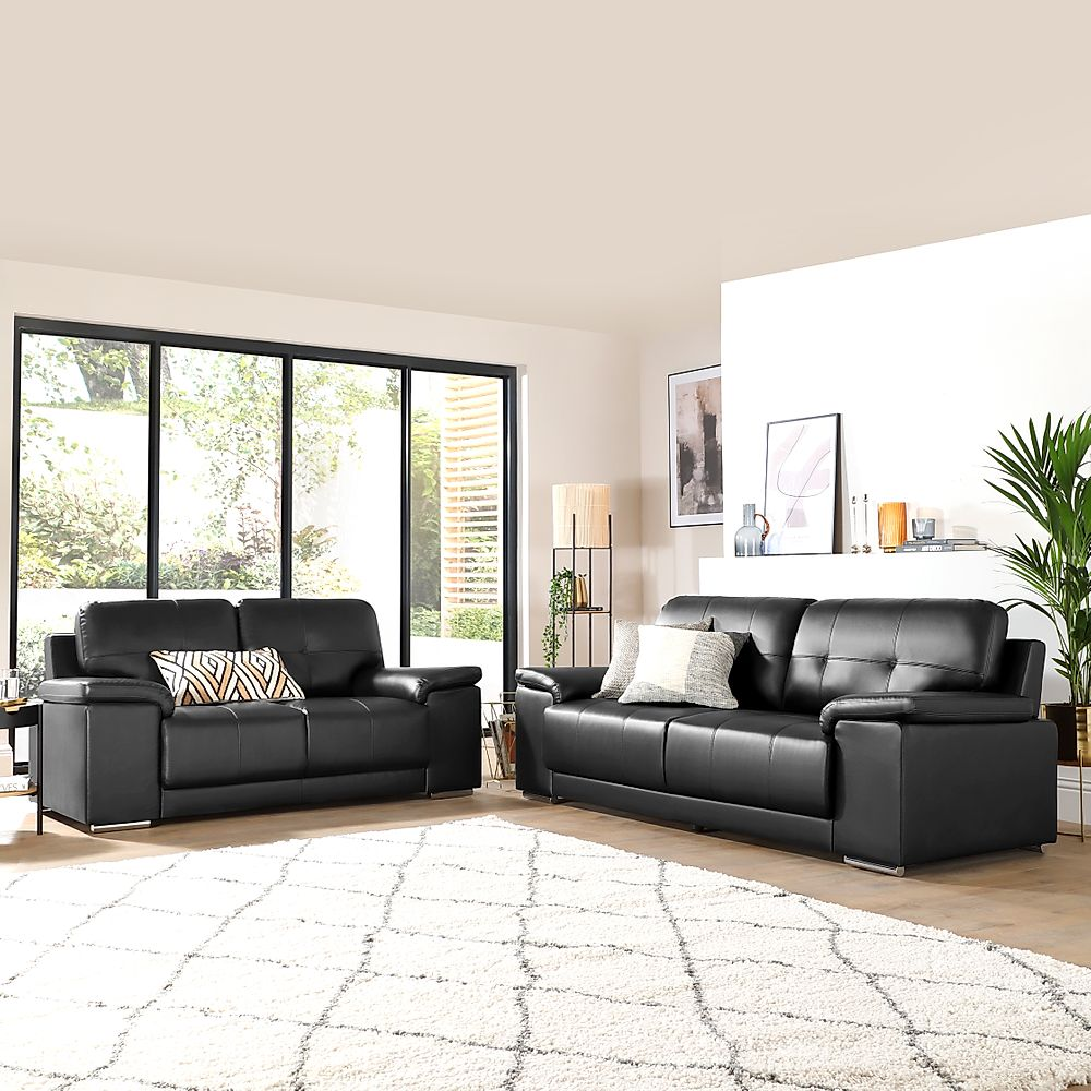 Kansas Black 3+2 Seater Leather Sofa Suite