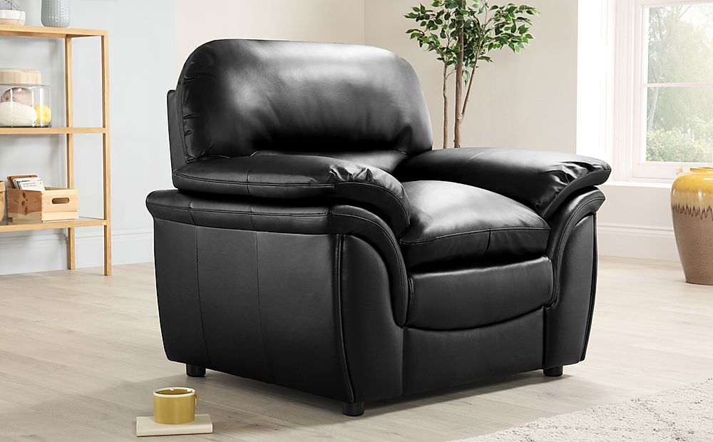 Rochester Black Leather Armchair | Furniture Choice