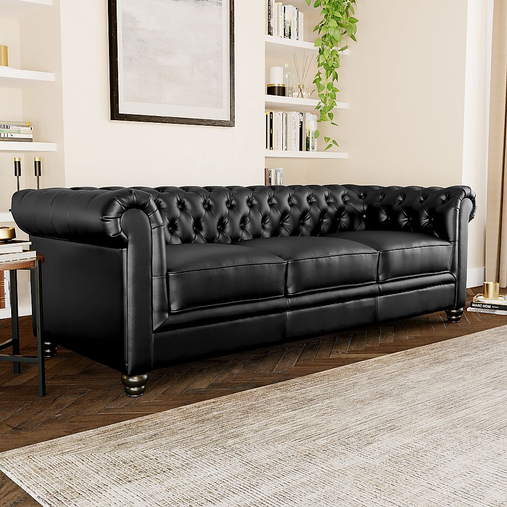 Hampton Black Leather 3 Seater Chesterfield Sofa