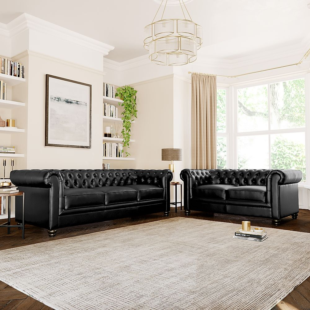 Hampton Leather Chesterfield Sofa Suite 3+2 Seater (Black)