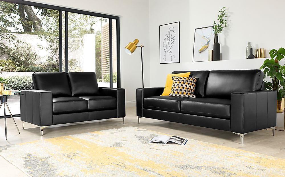 Baltimore Black Leather 3+2 Seater Sofa Set